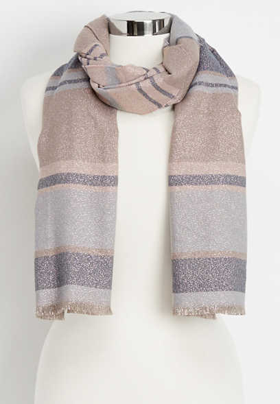 striped glitter oblong scarf