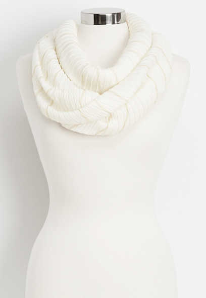 pleated gold lurex stripe infinity scarf