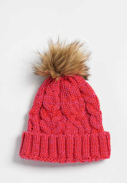 marled cable knit pom hat