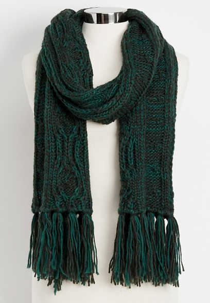 marled cable knit oblong scarf