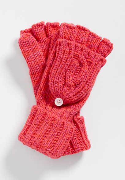 marled cable flip top mittens