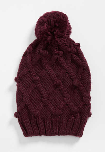solid cable knit pom hat