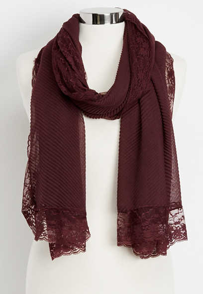 pleated lace trim oblong scarf