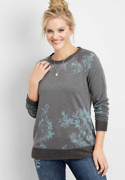 floral print basic pullover