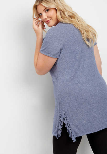 plus size 24/7 ruffled hem tunic tee