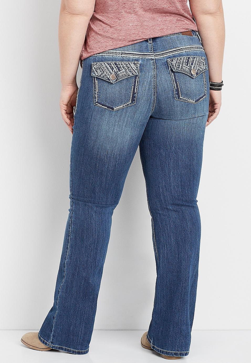 0c056f616d5 plus size DenimFlex™ bling back pocket bootcut jean