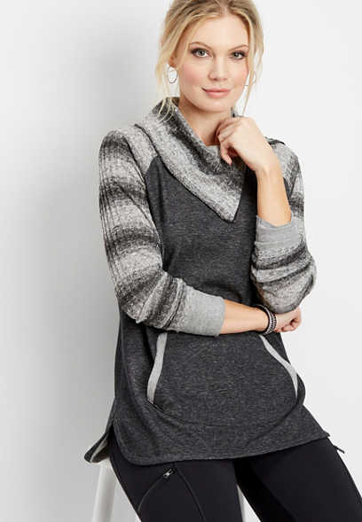 striped snit sleeve pullover