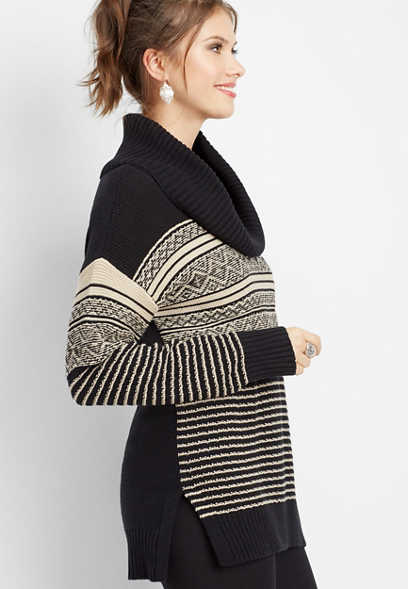 patterned cowl neck tunic sweater