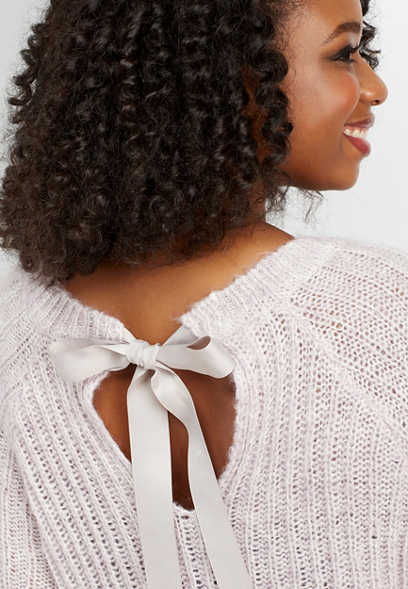 plus size bow back pullover sweater