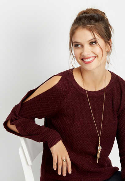 open sleeve honey comb stitch sweater