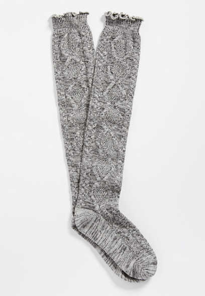 marled cable knit knee high sock