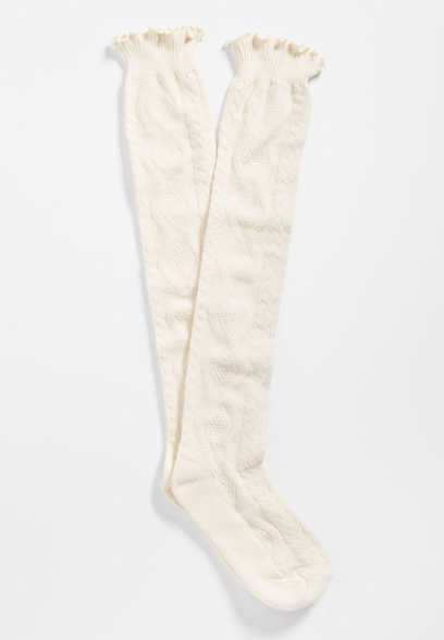 marled cable knit knee high socks