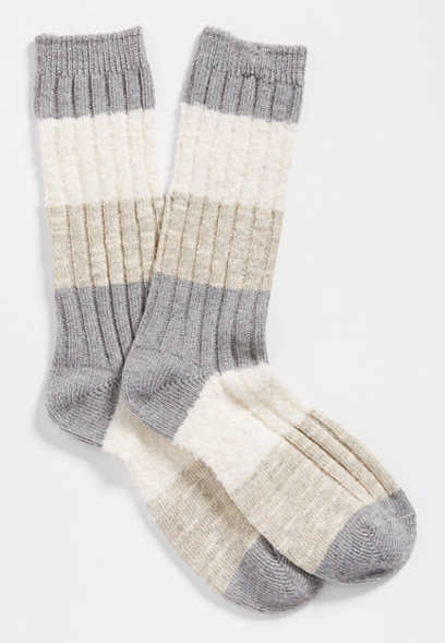 neutral colorblock crew socks