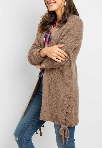 lace up side duster cardigan