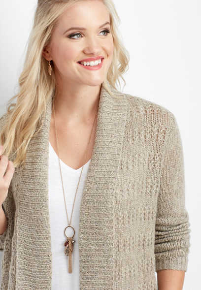 sparkle open stitch cardigan