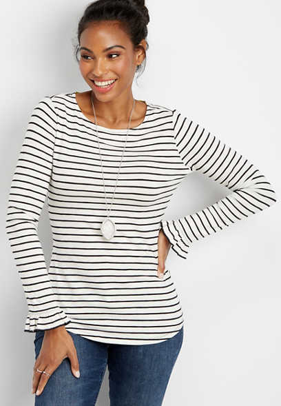 24/7 basic stripe flutter sleeve tee