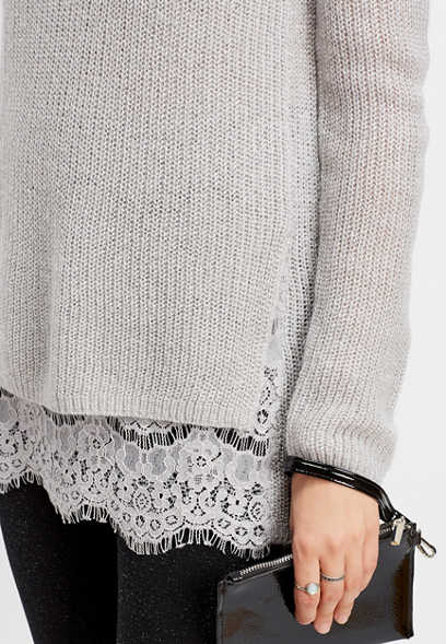 mock neck lace pullover
