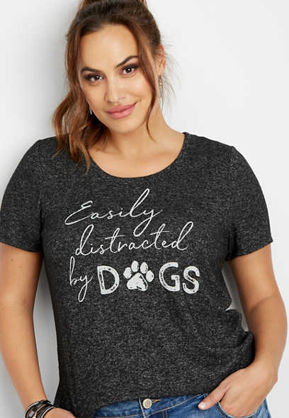 plus size distracted by dogs graphic tee