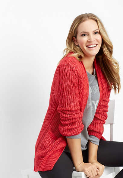 cable trim pocket cardigan