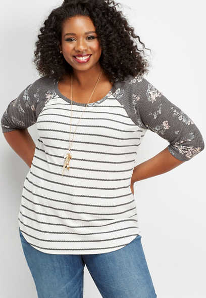 plus size 24/7 thermal floral stripe baseball tee