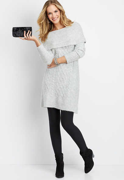 oversized cable sweater dress