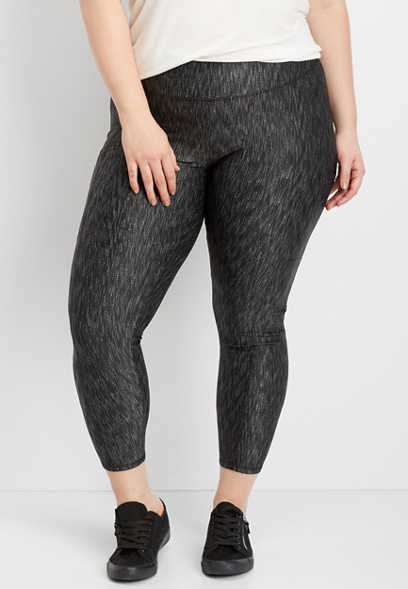 plus size textured 7/8 length legging