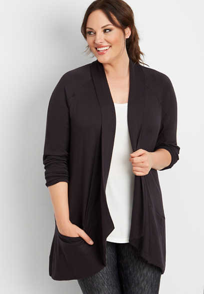 plus size athleisure solid pocket cardigan