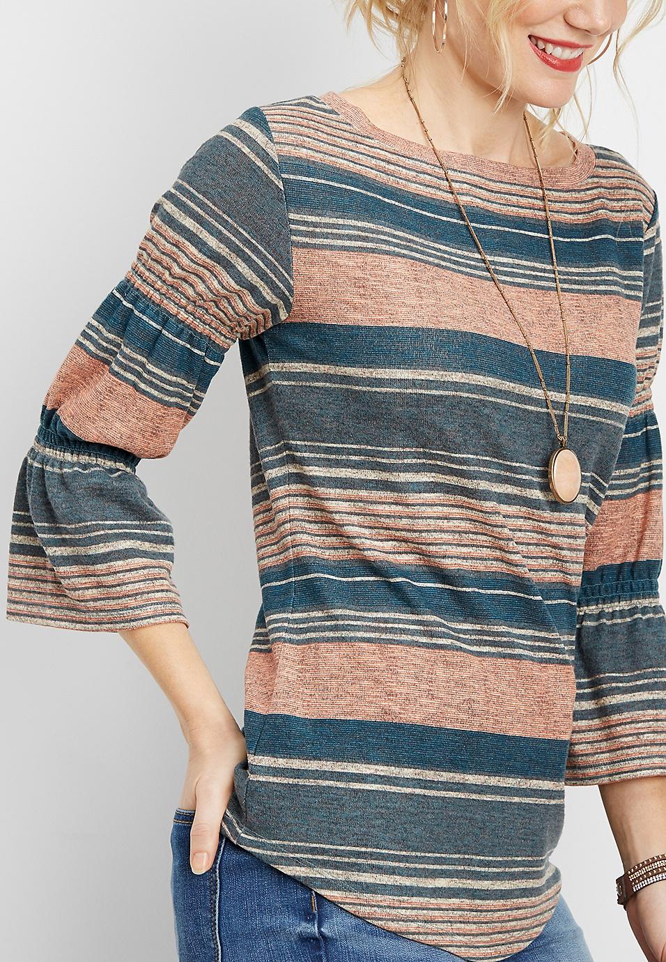 a9a0b1d2f3f8f6 stripe wide neck bell sleeve top | maurices