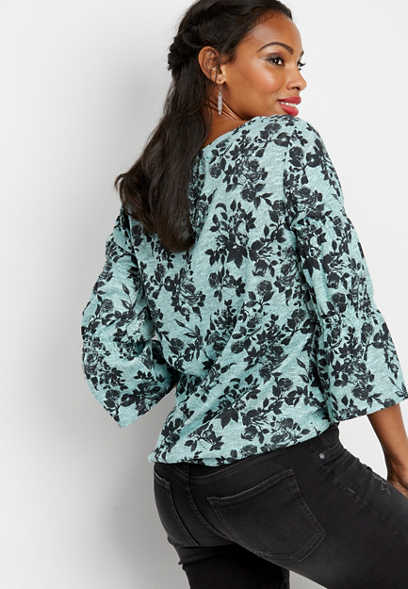 wide neck bell sleeve floral top
