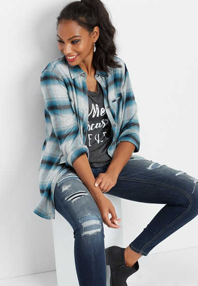 plaid welt pocket tunic button down shirt