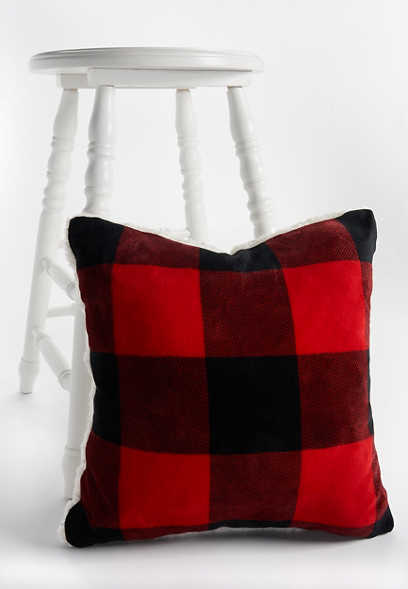 plush buffalo plaid pillow