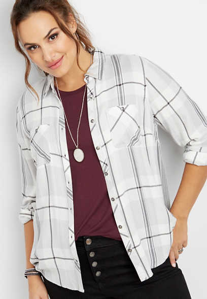 plus size thermal back button down shirt
