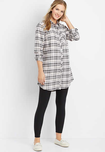 plaid flannel tunic night shirt