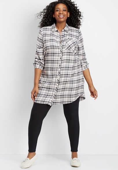 plus size plaid flannel tunic night shirt