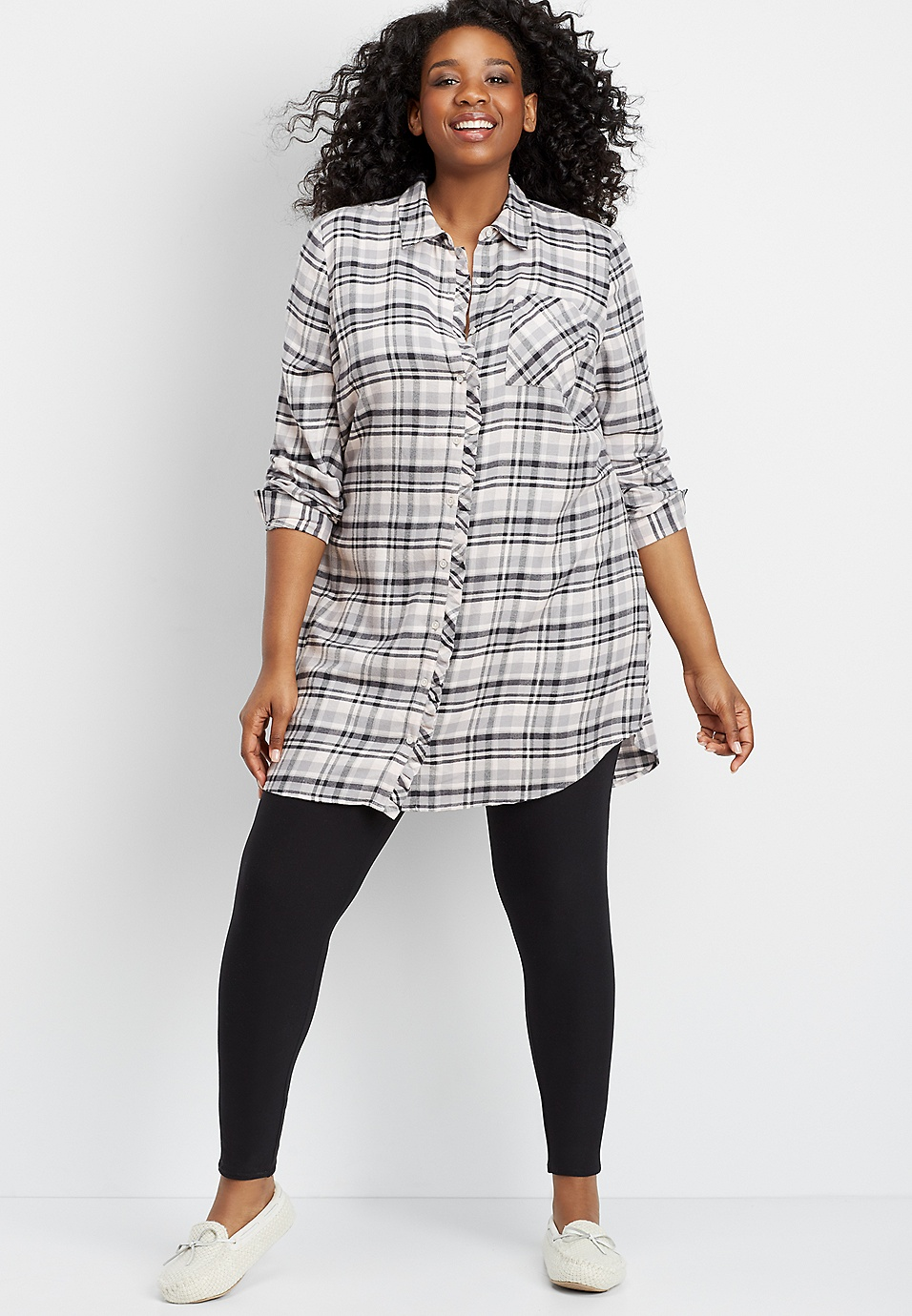 39dbcdb73a02f plus size plaid flannel tunic night shirt