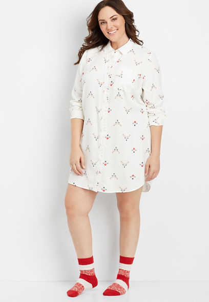 plus size critter print tunic night shirt
