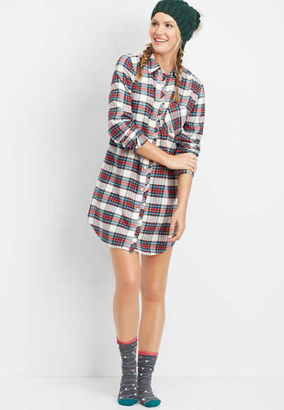 button down flannel tunic night shirt