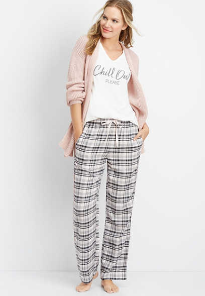 pink flannel sleep pant