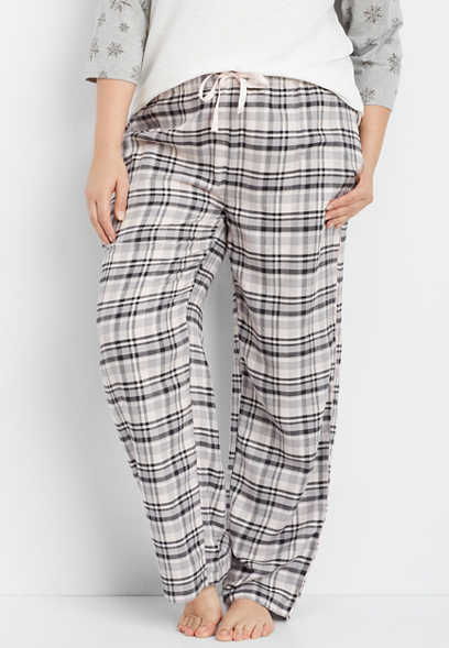 plus size pink flannel sleep pant