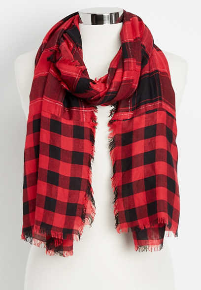 buffalo plaid oblong scarf