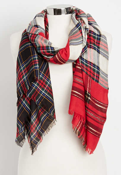 mixed plaid oblong scarf