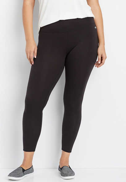 plus size black high rise active legging