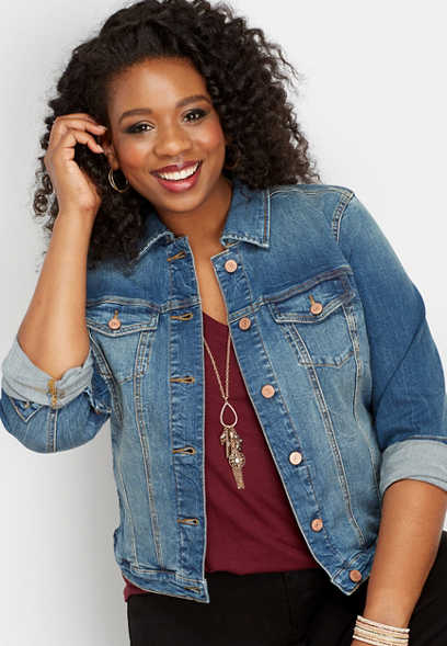 plus size dark sandblasted denim jacket