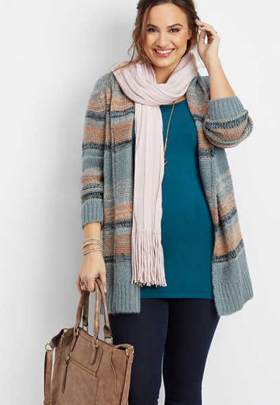 plus size marled stripe cardigan
