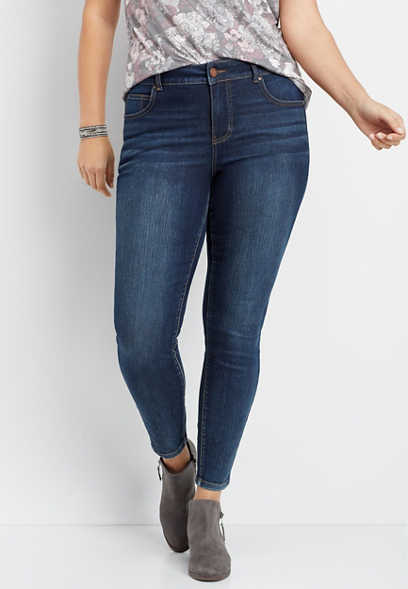 plus size Everflex™ high rise tinted skinny jeans