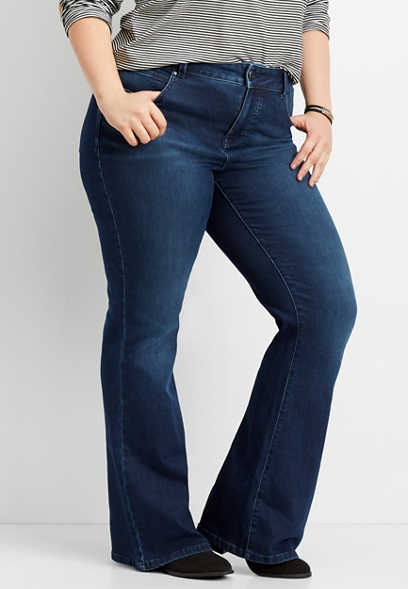 plus size Everflex™ high rise dark flare jean