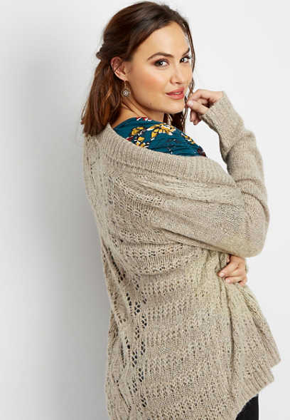 plus size sparkle open stitch cardigan