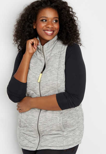 plus size gray knit puffer vest