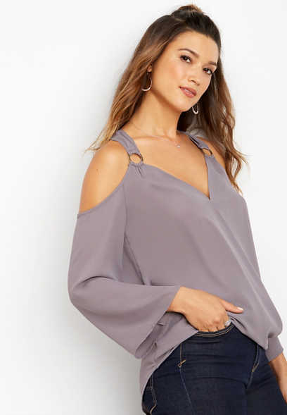 silver ring cold shoulder top