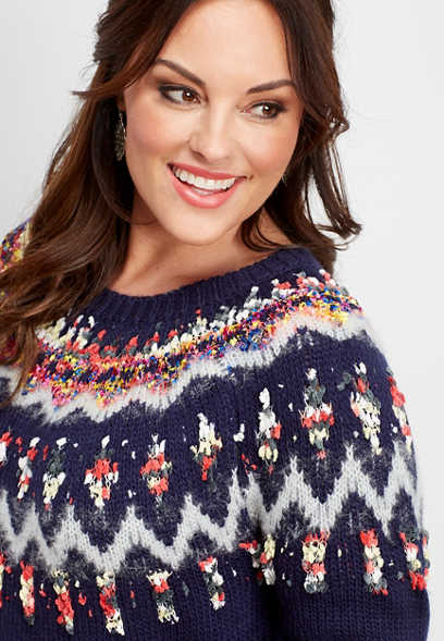 plus size ribbon yoke fairisle sweater